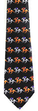 Horse Race Mens Neck Tie Kentucky Derby Party Racing Jockey Black Necktie
