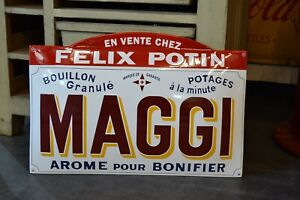 PLAQUE EMAILLEE MAGGI Félix Potin enamel sign emailschild