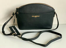 NEW! KARL LAGERFELD BLACK GOLD SAFFIANO LEATHER CROSSBODY SLING CAMERA BAG $128