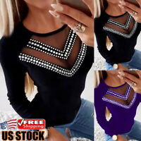 Women Sheer Mesh Long Sleeve T-Shirt Blouse Ladies Summer Casual Blouse Tops Tee