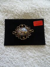 antique style simulated blue opal brooch