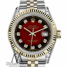 Rolex Stainless Steel & Gold 26mm Red Vignette Color Dial with Diamond Accent
