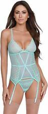 Dreamgirl VIBRANT AQUA Stretch Mesh and Lace Bustier Set, US One size