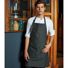 PREMIER Plain Apron In Black Denim Catering Chef Baking Crafts BBQ Waiter UK