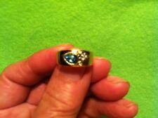 Pierre Lang Ring goldfarbig blauer Stein und weiße Steine    -Gebraucht-