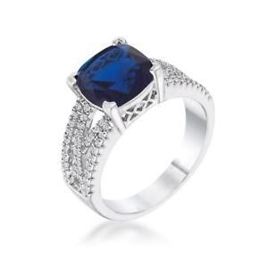 3 TCW Cushion Cut Blue Sapphire Birthstone CZ Bridal Engagement Ring Size 5-10