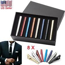 8pc Gentleman Silver Metal Simple Practical Plain Necktie Tie Clip Bar Clasp USA