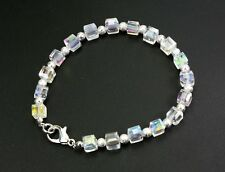 Pretty, delicate 6mm cubed clear AB crystal bracelet, silver stardust spacers