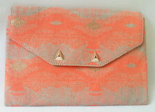 Genuine Stella & Dot City Slim Clutch AZTEC CORAL NEW without Tags