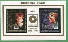 John Lennon Gold & Silver Commemorative Single Souvenir Stamp Sheet Burkina E53