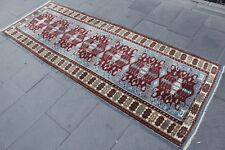 "Vintage Handmade Turkish Oushak Blue Red Runner Rug 240x88cm, 94""x34"""