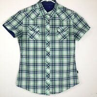 KUHL Women's Medium Plaid Pearl Snap Button Hiking Short Sleeve Top Polyester