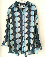 Cato Woman 18/ 20W Blouse Button Front Sheer Pleated Long Sleeve Brown Blue Polk