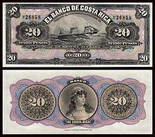 Costa Rica  20 Pesos  1-4-1899  Pick S165  Unsigned remainder SC = UNC
