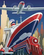 "10"" x 8"" ART DECO CAR SHIP TRAIN NEW YORK AEROPLANE METAL PLAQUE TIN SIGN N084"