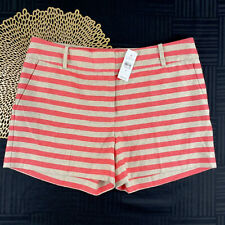 Ann Taylor Loft Womens Size 6 Coral Beige Striped Linen The Rivera Shorts