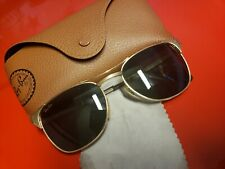 Ray Ban B&L vintage sunglasses Signet Gold rectangular G15 vintage Green 1980's