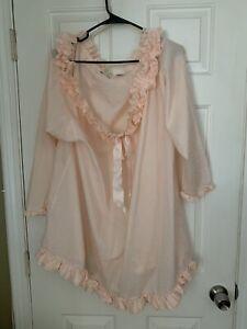Vintage Victoria Secret Gold Label Lace Nightgown Poet Nightshirt Peach M/L
