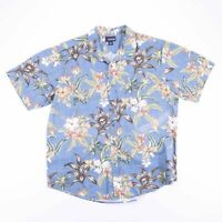 Vintage ARTHOUSE Blue Tropical Floral Print Short Sleeve Shirt Size Men's XL
