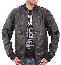 Ecko Mens College Varsity Bomber Black Quilted Designer Faux Leather Jacket Club