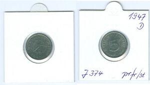 Alliierte Besatzung  5 Reichspfennig 1947 D  prägefrisch bis stempelglanz