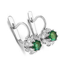 Russian Style Earrings 1.40 CT Emerald and .70 CT Diamond 14k Gold English lock