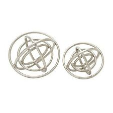 Benzara 45678 Trendy Aluminum Ring Patterned Orb Set of 2 NEW