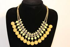 NEW BANANA REPUBLIC GOLD DOUBLE CHAINED NECKLACE WITH YELLOW BEADS