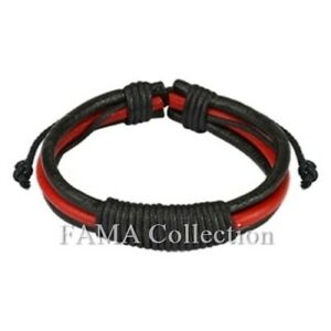 FAMA Black and Red Leather Bracelet with Long Shocker Tie Knots