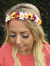Yellow Purple Sunflower Daisy Chain Flower Garland Headband Hair Crown Boho 1950
