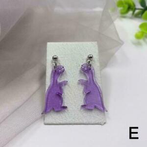 Acrylic Little Dinosaur Drop Hook Earrings, cut Acrylic F8Z7