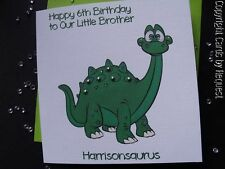 HANDMADE PERSONALISED CUTE DINOSAUR BIRTHDAY CARD