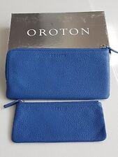 OROTON  2-PIECE TRANSIT TRAVEL WALLET in Royal Blue RRP$225
