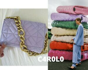 ZARA NEW QUILTED MIDI SHOULDER BAG WITH CHAIN STRAPS ALL COLORS REF. 6227/710