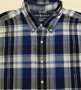 Polo Ralph Lauren Men's Blue White Plaid Button Front L/S Shirt Sz 2XLT Tall Cus