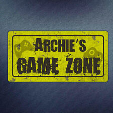 Personalised Game Zone Metal Plaque - Gamer Grunge Stick on Door