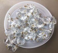 Vintage Estate Italian Clear Glass Prism Beads Chandelier w Brass Wire Swag Lot