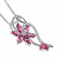 New Fashion Flower Silver Pendant Necklace Gift Banquet Jewelry Pink Topaz Gems