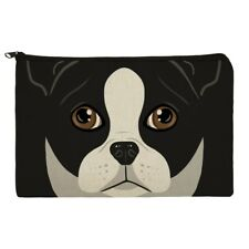 Boston Terrier Look Into My Eyes Face Makeup Cosmetic Bag Organizer Pouch