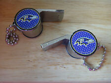 "2 NFL Baltimore Ravens Metal Whistle 4"" ball keychain Coach Football Basketball"