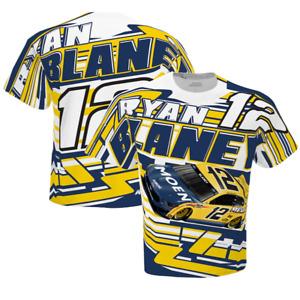 NASCAR Ryan Blaney Team Penske Yellow Total Print Sublimated T-Shirt