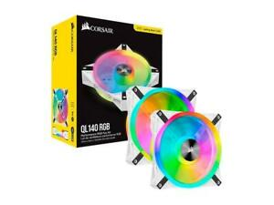 Corsair QL iCUE QL140 RGB 140mm RGB LED PWM Lighting Node Dual Fan Kit White