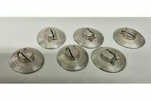 Solid Silver Unusual Set of 6 Menu Holders Formed as Bonnets London 1974
