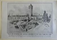 Municipal and Terminal Buildings City Hall New York City 1903 old print