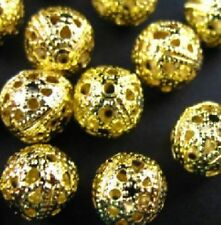 Free Ship 50Pcs Gold Plated Round Filigree Spacer Beads 10mm