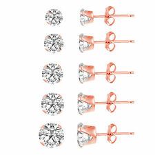 Rose Gold Plated Silver 925 Round Clear CZ Stud Earring set (5 Pairs) 3mm-7mm