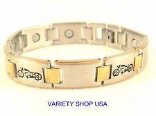 Motorcycle Stainless Steel Magnetic Link  Bracelet 2-Tone 45,000 Gauss