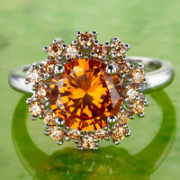 Attractable Round Cut AAA Morganite Gemstone Silver Ring Size 7 8 9 10 Free Ship