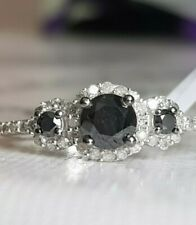 *GORGEOUS* .925 1.00CT BLACK/WHITE DIAMOND TRILOGY CLUSTER RING
