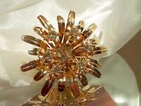 Vintage 1960's  Large Gold Tone 3D Flower Sparkly Rhinestone Brooch   503jn9